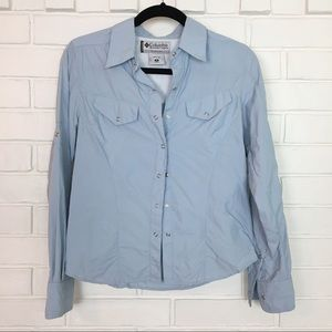 Columbia Light Blue Button Down Small Top
